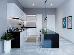 Phòng bếp với gam màu tối