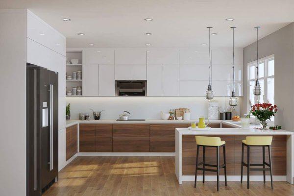 Nhà bếp sử dụng chất liệu đá và gỗ