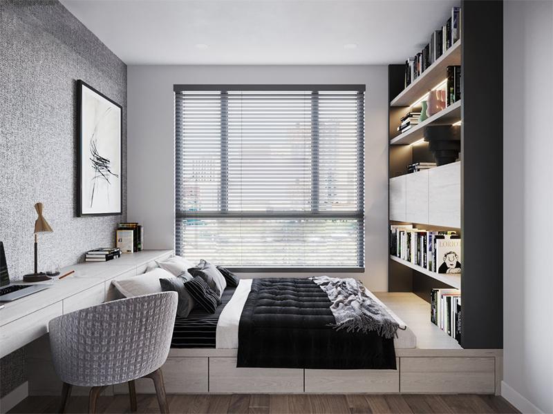 Thiết kế không gian nội thất phòng ngủ, ấm cúng, tiện nghi