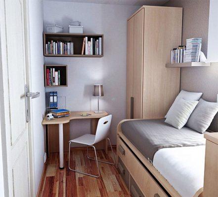 Phòng ngủ nhỏ kết hợp bàn làm việc