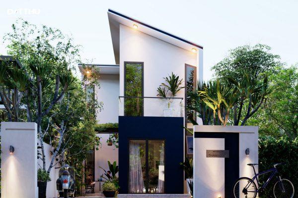 Nhà mái lệch 2 tầng hiện đại