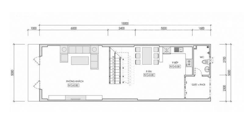 Mẫu nhà ống 2 tầng 5x15m phòng ngủ hiện đại tại Vĩnh Phúc