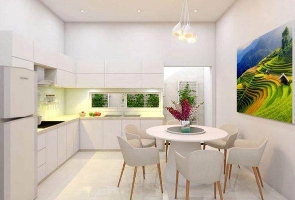 Bếp ăn hẹp sử dụng tone màu trắng