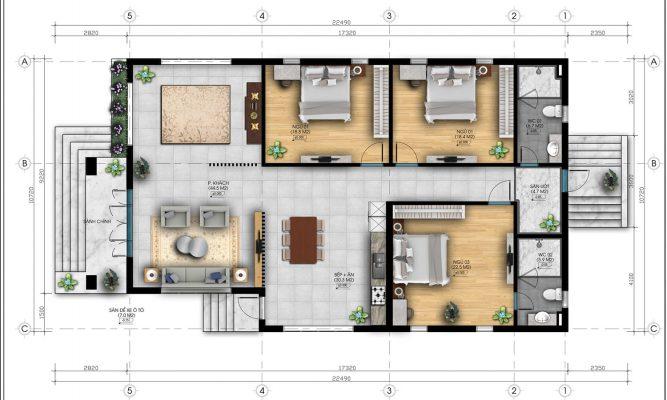 Bản vẽ bố trí nội thất ngôi nhà mái Nhật 1 tầng