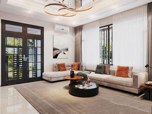 phòng khách được bố trí nội thất hiện đại
