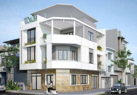 Nhà phố 3 tầng vát góc 2 mặt tiền