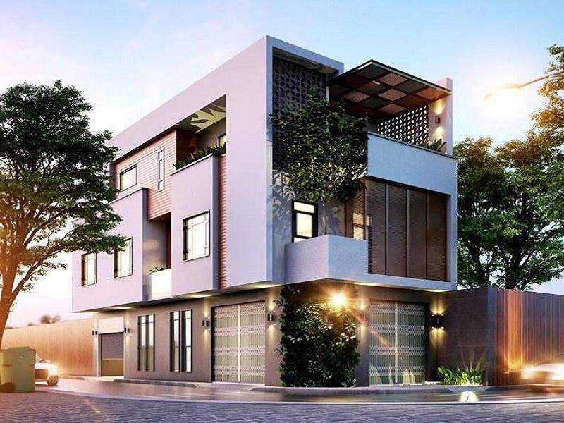 Thiết kế nhà 3 tầng 2 mặt tiền hiện đại