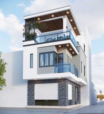 Thiết kế nhà phố 3 tầng 2 mặt tiền đẹp lung linh tại Phú Thọ