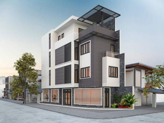 Thiết kế nhà 3 tầng 2 mặt tiền kết hợp kinh doanh