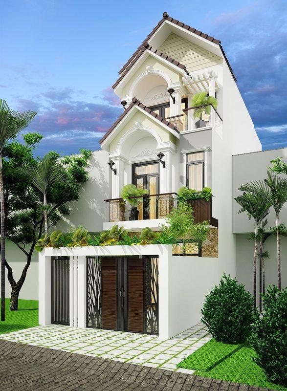 Thiết kế nhà 3 tầng mái thái tân cổ điển