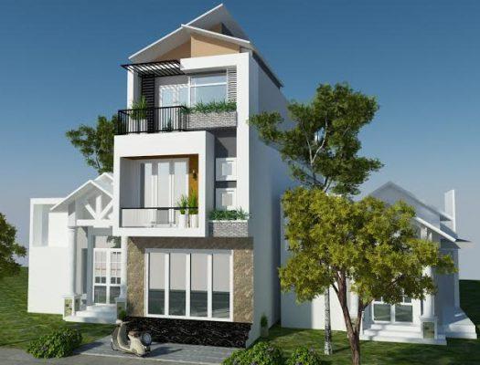 Nhà mái lệch 3 tầng hiện đại