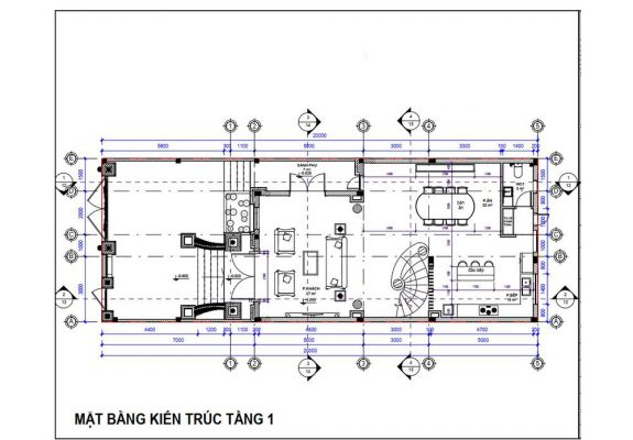 Thiết kế công năng tầng 1