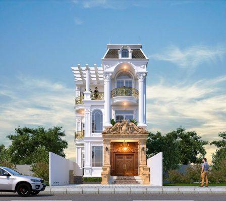 Thiết kế nhà phố 3 tầng 4 phòng ngủ Anh Ngọc tại Việt Trì - Phú Thọ