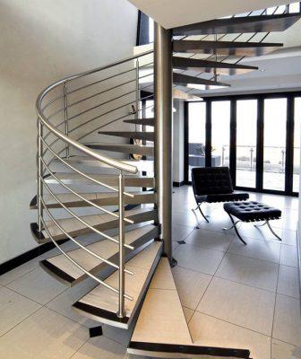 Cầu thang inox sản xuất từ inox lắp ráp hiện đại