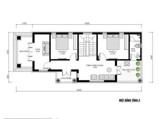 Biệt thự 2 tầng mái Thái 3 phòng ngủ