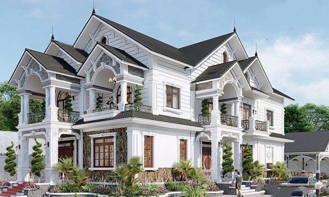 Biệt thự 2 tầng mái Thái phong cách tân cổ điển