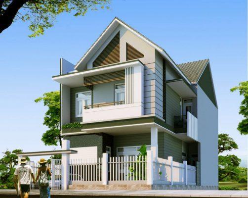 thiết kế biệt thự 2 tầng mái Thái mới nhất 2021