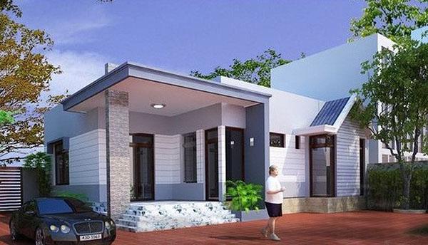 Thiết kế nhà mái bằng 1 tầng diện tích 100m2ể xe