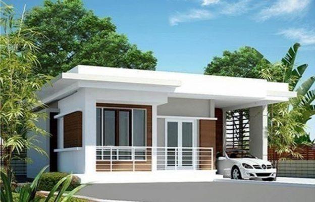 Thiết kế nhà mái bằng 1 tầng có gara để xe