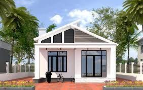 Nhà 1 tầng mái chéo hiện đại