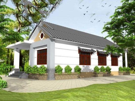 Thiết kế nhà 1 tầng ba gian mái thái