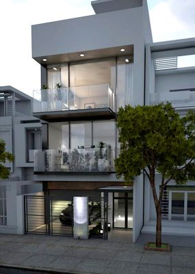 Thiết kế nhà ống 3 tầng hiện đại có gara ô tô anh Phương tại Phú Thọ