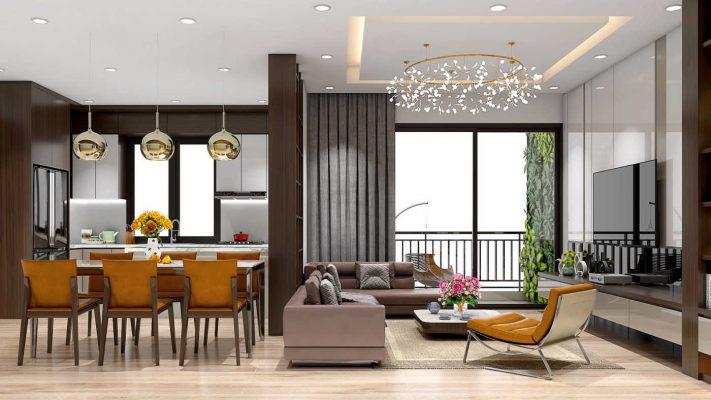 Mẫu chung cư với nội thất hiện đại
