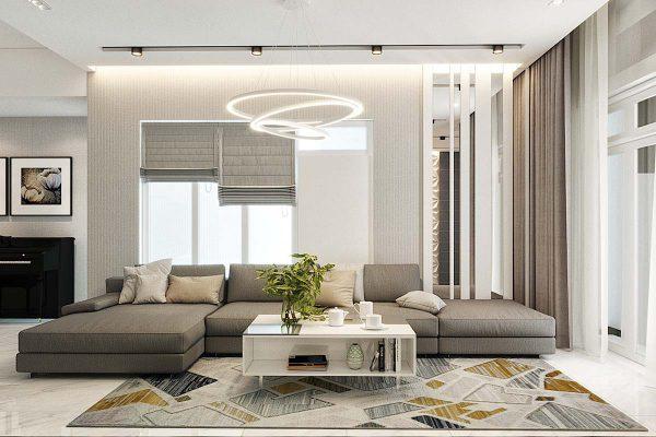 Phòng khách hiện đại nhà ống 3 tầng anh Phương