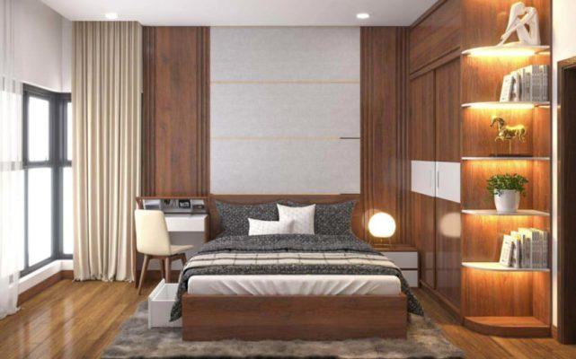 Phòng ngủ với gam màu trầm