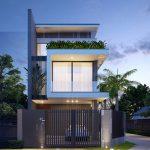 Thiết kế nhà phố 2 tầng 1 tum hiện đại anh Hoà tại Mê Linh- Hà Nội