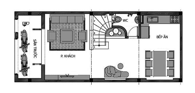 Mặt bằng tầng 1 nhà phố 2 tầng 1 tum