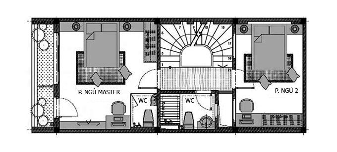 Mặt bằng tầng 2 nhà phố 2 tầng 1 tum