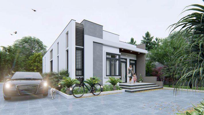 Thiết kế nhà cấp 4 mái bằng sân vườn anh chị Khoa Hiền