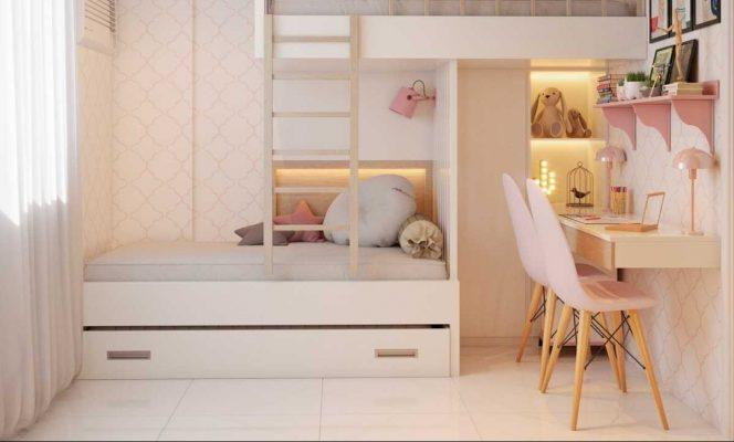 Phòng ngủ bé gái diện tích hẹp