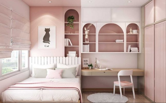 Phòng ngủ tone hồng đơn giản