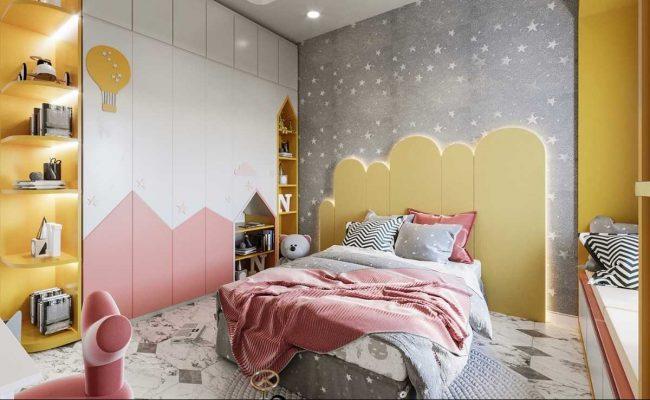 Thiết kế nội thất phòng ngủ bé gái mộng mơ