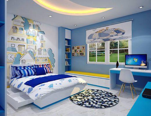 Nội thất cho phòng ngủ bé trai năng động, hoạt bát.