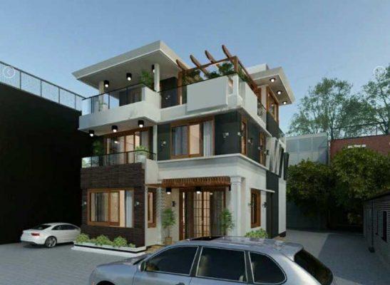 Thiết kế thi công biệt thự vuông Quốc Oai Hà Nội