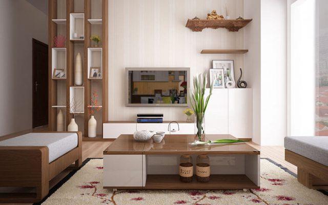 mẫu nội thất gỗ công nghiệp phòng khách đẹp