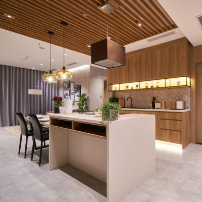 Tủ bếp gỗ MDF kết hợp quầy bar