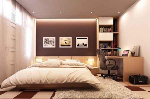 Nội thất phòng ngủ nhà phố gỗ công nghiệp đẹp