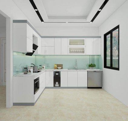 Tủ bếp MDF Melamine màu trắng